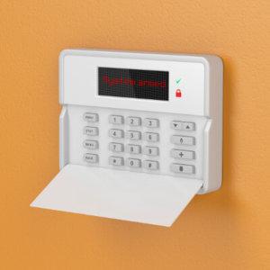 Alarm control on orange wall